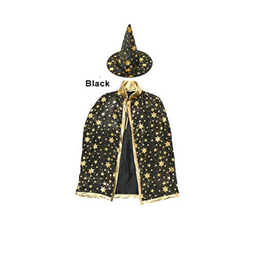 Children Costumes Stars Style for Halloween and Christmas Sorcerer/Halloween Cloak with Hat Black - Wizard Costume Toddler