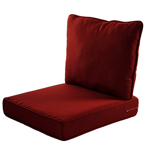 Deep Chair Cushion Seat - Quality Outdoor Living All Weather Deep Seating Patio Chair Seat and Back Cushion Set, 23-Inch by 26-Inch, Red (Pack of 2)