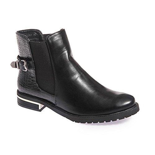 La Modeuse-Botines chelsea piel sintética, con tirantes, un efecto piel de cocodrilo, diseño de pintauñas, Negro (negro), 37 EU: Amazon.es: Zapatos y ...