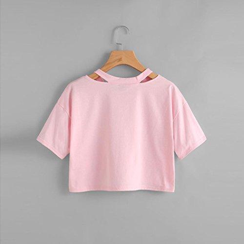Rosa Rosa Tumblr Donna Manica Camicia Camicetta Casual s V Top Gilet Magliette Divertenti Vintage Ragazza Corta T Shirt Collo Estive Maglietta donna Beautyjourney OAvBpp