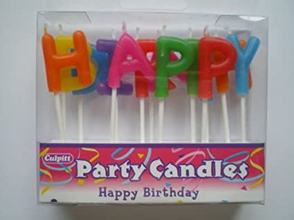 Happy Birthday Letters Party Cake Candles Amazoncouk Kitchen Home