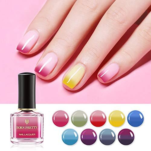 BORN PRETTY Nail Polish Color Changing Temperature Mood Vivid Thermal Nail polish Varnish Polish 6ml 9 Bottles Bright Color