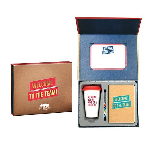 New Employee Welcome Gift Set Kit - Sign able Certificate, Small Bound Journal, Black Ink Retractable Ballpoint Click Pen, 10 oz. Ceramic Travel Coffee Mug with Silicone Lid - Red and Gold - Logo Pers]()