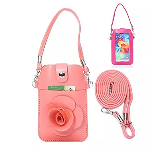 Rose flower Circles Embossing Leather Pouch Carrying Case cover Belt Clip Belt Loop with Pull Tab for pink Huawei Ascend 2 II M865 M865C Summit U8651S Prism U8651 (Huawei Ascend Ii M865c)