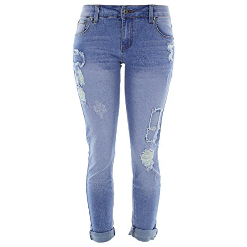 373bcdb42c0 on sale Bee   Ceci - Women s Rips Patched Boyfriend Jeans - Medium Blue