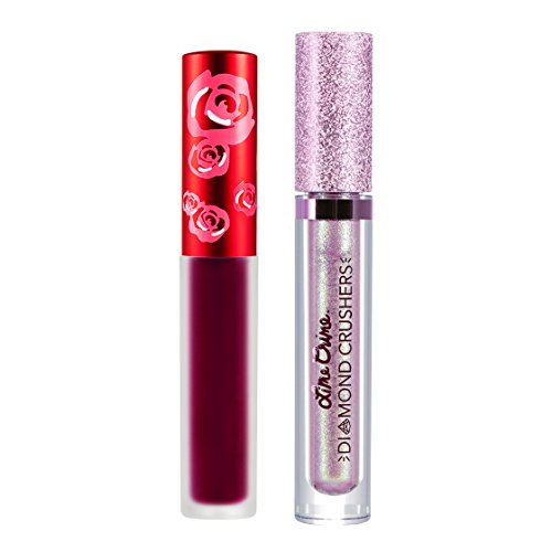 Lipstick Red Rose Petal - Lime Crime Two Cute Lip Bundle. Beet It Velvetine (Deep Berry-Pink) and Acid Fairy Diamond Crusher (Lavender/Mint Shift)