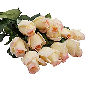 IPOPU Real Like Artificial Roses Flowers,Latex Real Touch Fake Flowers Wedding Bouquet House Garden Decoration 10Pcs 110
