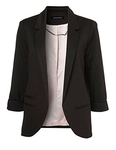 Anne McAdams Women's Cotton Rolled Up Sleeve No-Buckle Blazer Jacket Suits Small Black (Sleeve Jacket Rolled)