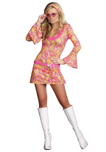 [Dreamgirl Women's Go Go Gorgeous Costume, Multi, Small] (60s Costume)