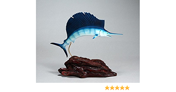Marlin Sculpture by John Perry Large 18in Long Airbrushed Statue