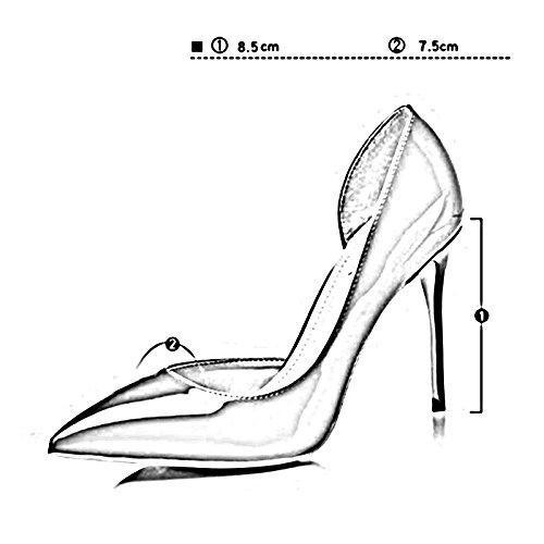 Schwarz 10cm 4 Pumps 5cm M388 Mund Hohen Frau Dünne CN38 5 UK5 Farbe Ferse EU38 Einzelne Schuhe 5 8 Flacher 8 PU Absätzen YIXINY Schuhe Spitz Mit größe Leer Gummi Seitlicher BqwTdw