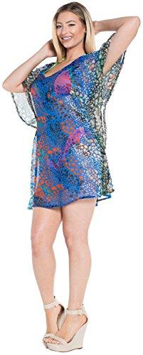 La Leela chifón ligero remolinos arte espejo suelta 5 en 1 bata estar en casa vestido túnica tapa ocasional ropa playa hasta cuello más Szie playa caftán lado la piscina partido señoras dcubren u Azul