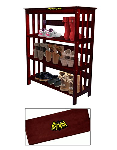 Women's Cherry Finish Large Shoe Rack (Shoes NOT Included) Featuring Your Choice of a Novelty Themed Decal. Great for the Closet, Entry Way, or Mud Room! (Batman Retro)