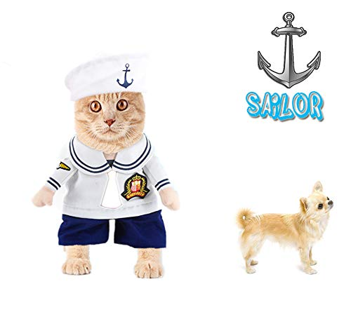 Delifur Pet Costume Sailor Dog Costume Cat Carrying Costume with Hat Pet Halloween Spooky Night Clothes for Small Dog Cat Puppy by (L)
