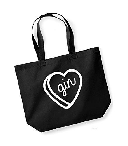 Unisex Bag white Heart Gin Canvas Tote Black Print Slogan Cotton Kelham Fxnwq5YgF