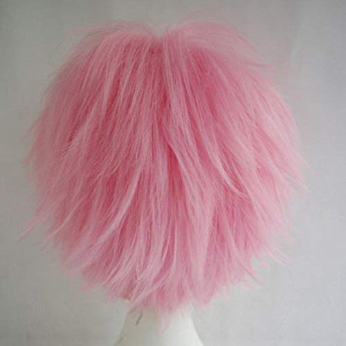Women Mens Short Fluffy Straight Hair Wigs Anime Cosplay Party Dress Costume Shaggy Full Wig (Pink)