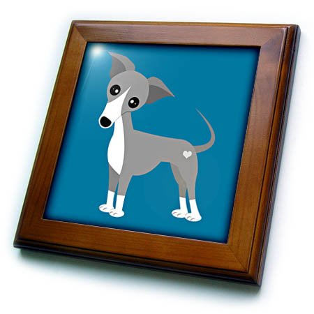 3dRose Janna Salak Designs Dogs - Italian Greyhound Cute Cartoon with Heart - 8x8 Framed Tile (ft_283579_1)