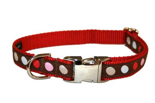 Sassy Dog Wear 13-20-Inch Brown/Multi Dot Dog Collar, Medium