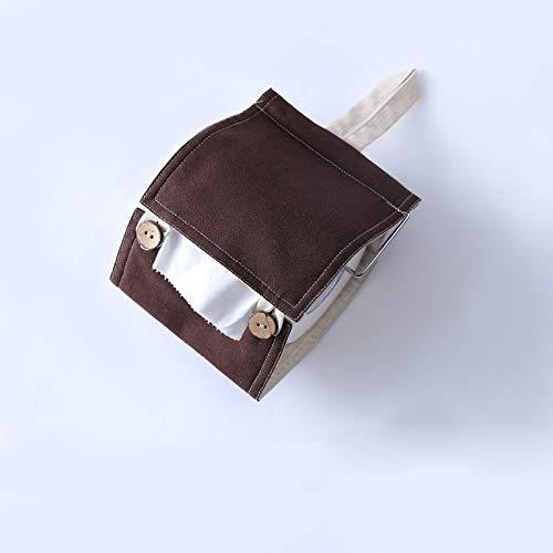 - Nordic Cotton and Linen Tissue Holder Modern Paper Towel Bathroom Toilet Paper Holder Wall Hanging Bag Roll Paper Holder (Brown)