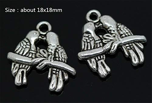 Wholesale Antique Silver Beautiful Fashion Jewelry Charms Pendant Crafts Making (Model - 10X Two-Sided Parrot) from Bazzano