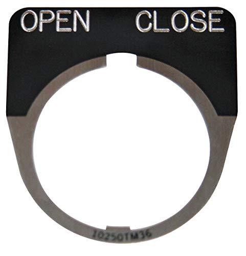 Eaton 30mm 1/2 Round Open-Close Legend Plate, Aluminum, Black ()
