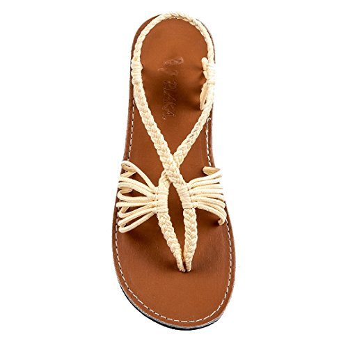 Cushion Rope Ring - Plaka Flat Summer Sandals for Women Sweet-Ivory 8 Seashell