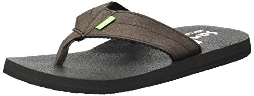 Sanuk Men's Beer Cozy Coaster TX Flip-Flop, Brown Washed, 11 M US