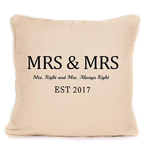 Personalized Lesbian Wedding Gift | Mrs And Mrs Throw Pillowcase | 18x18 Inch Cushion Cover - The Perfect Present For The Lesbian Couple For A Wedding Or Anniversary