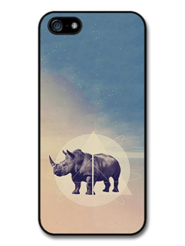 Cool Funny Hipster Design of Rhino Triangles and Space case for iPhone 5 5S