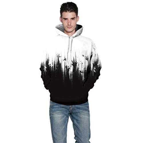 Rucan Halloween Women Men Skeleton 3D Print Long Sleeve Hoodie Sweatshirt Pullover Top by Rucan (Image #1)'
