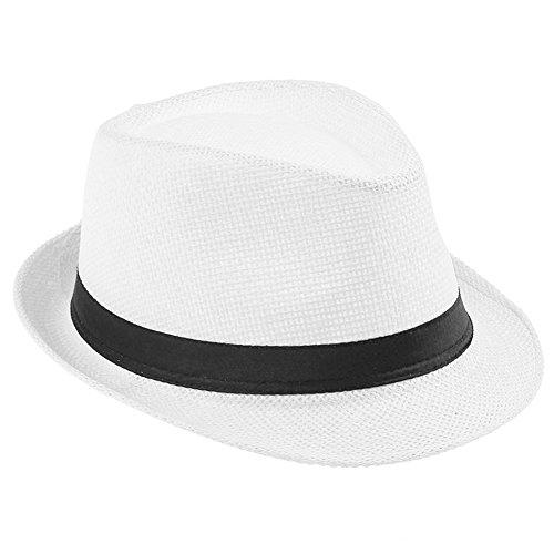 Healthy Clubs Women Damen Herren Panamahüte Sommer Beach Trilby Straw Wide Brim Cap Sun Panama Fedora Hut Mütze