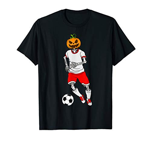 Soccer Skeleton Pumpkin Costume T-Shirt October 31st -