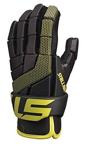 STX Lacrosse Stallion 100 Gloves, Black/Yellow, Medium/12-Inch
