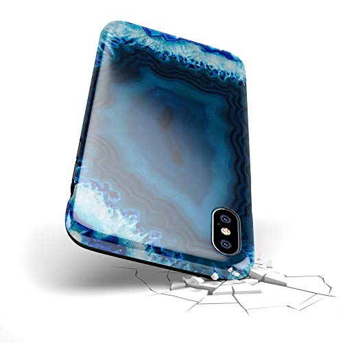(Summer New Tropical Design Skinz Premium Hybrid TPU Top Modern Best Hard Case for The iPhone 5/5s/SE - Vivid Blue Agate Crystal)