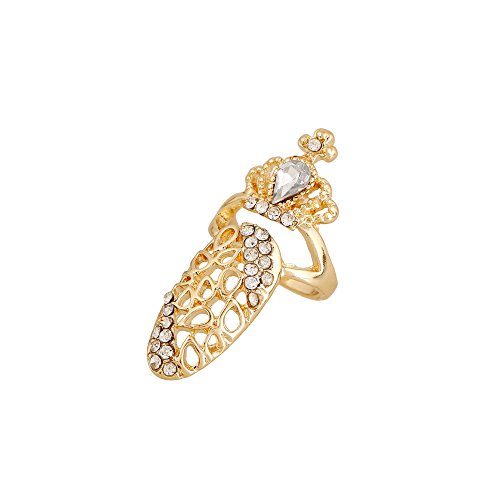 Winter's Secret Fashionable Hollow Diamond Accented Crown Women and Girls Gold Color Fingernail Ring