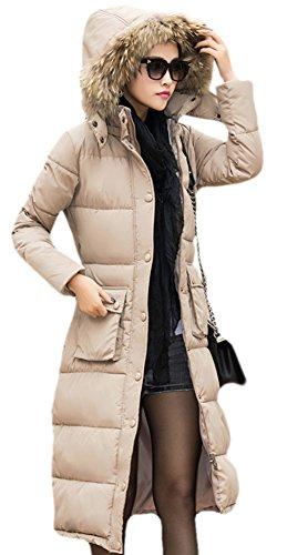Ace Women's Long Maxi-length Down Coat Down Jacket with Fur Hood Plus (x-large, khaki)