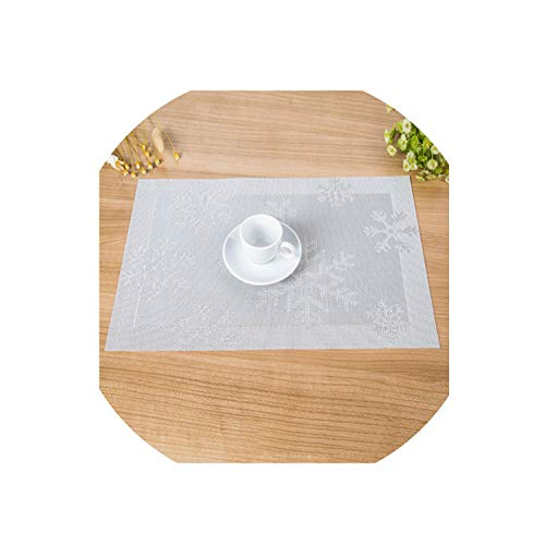 (Ge-store 2/4/6Pieces Set Christmas Snowflake Mats Pads PVC Waterproof Insulation Placemat Dining Place Mat Kitchen Table Mat,White,6Pieces)