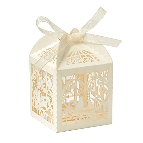 Vsolucky 50pcs Ivory Laser Cut Bird Favor Boxes Candy Paper Box Wedding Party Favor Gift Boxes with Ribbons for Bridal Party Birthday Baby Shower Decoration