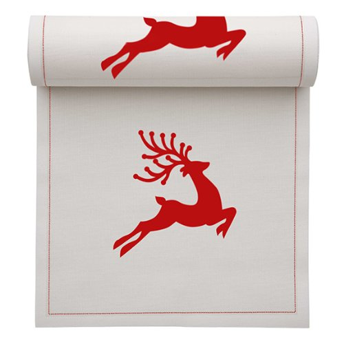 MYdrap SA11N2/101-2 Holiday Printed Cocktail Napkin, 4.5'' Length x 4.5'' Width, Ecru with Red Reindeer (10 Rolls of 50)