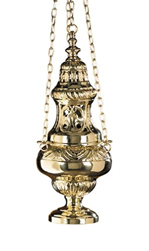 Stratford Chapel Polished Brass Two Dome Hanging Church Censer, 11 1/4 Inches by Stratford Chapel