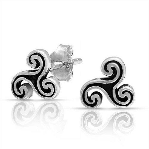 Sterling Silver Celtic Spiral Earrings (Bling Jewelry Celtic Trinity Triskele Spiral Sterling Silver Stud)
