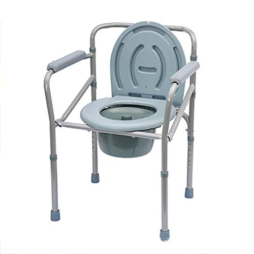 Commode Toilet Chair, Adjustable Height Full Steel Bathroom Chair with Anti-Slip Armrest,Soft Seat,Large Backrest,Folding Mobile Toilet for Disabled,Elderly
