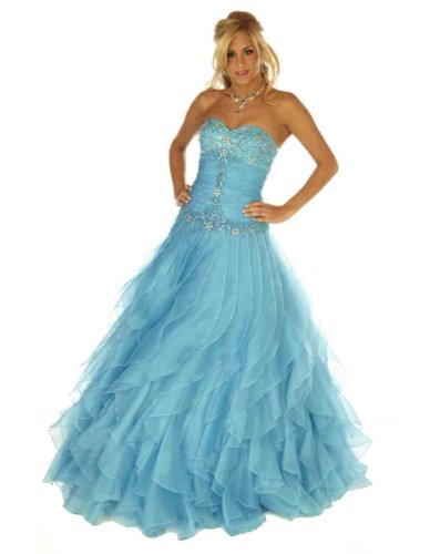 Joli Women's Sweetheart Formal Dress Cinderella Sexy Strapless Corset Prom Evening Gown Joli 12 Aqua Turquoise