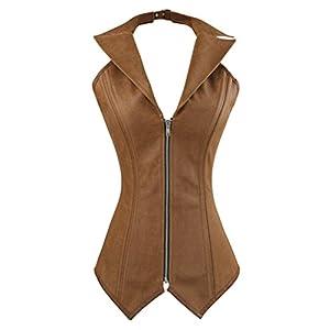 Charmian Women's Steampunk Rock Retro Halter Spiral Steel Boned Vest Corset Top