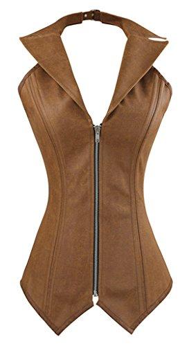 Charmian Women's Steampunk Rock Retro Halter Spiral Steel Boned Vest Corset Top 4