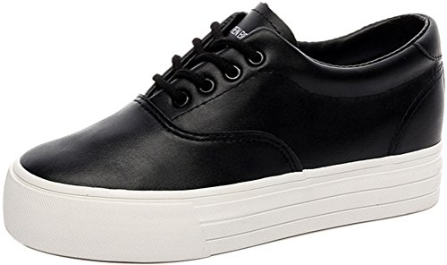Casual Shoes Black Women Sneakers Flat Fashion Pleather SATUKI Lace Up For Loafer Sports PpPqOw8