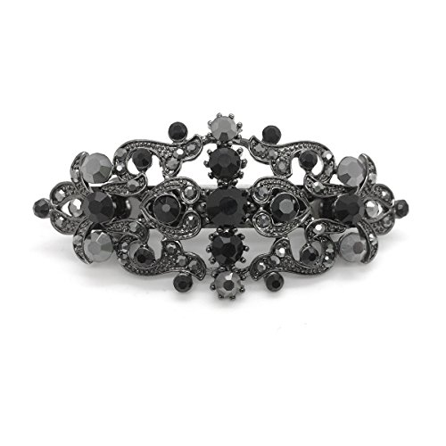 Bridal Hair Barrette Black Plated Romancing Heart Rhinestone Crystal Small 2.5 inches