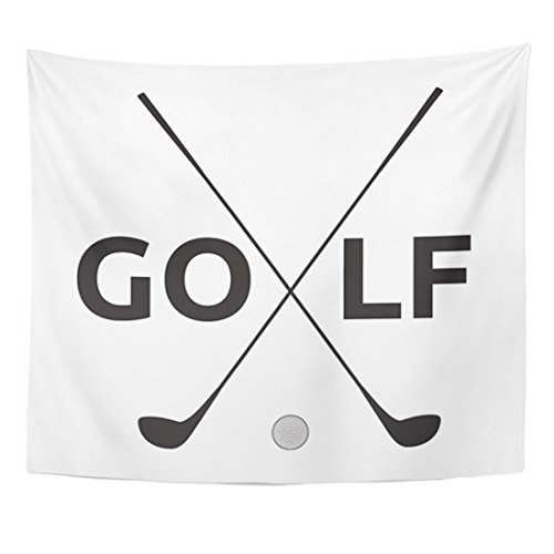 Emvency Tapestry Black Club Golf Symbol Iron Flag Home Decor Wall Hanging for Living Room Bedroom Dorm 50x60 inches