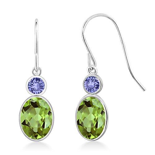Gem Stone King 1.84 Ct Oval Green Peridot Blue Tanzanite 14K White Gold Earrings ()
