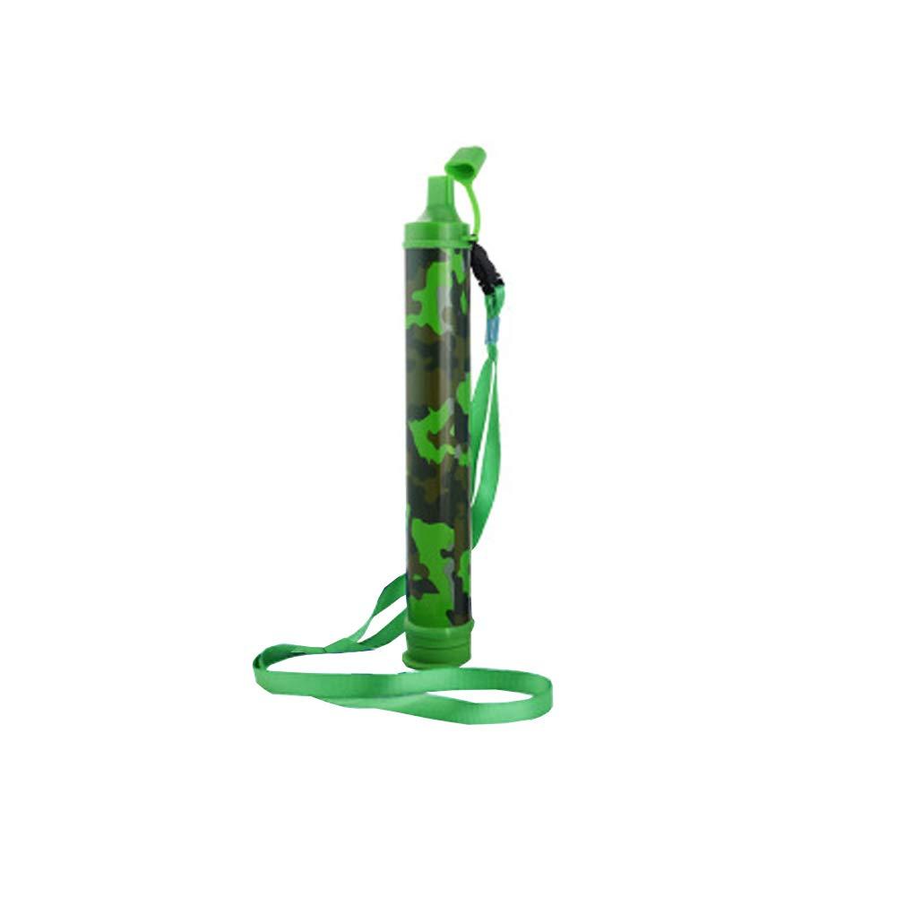 Tellunow Filtro de Agua Senderismo, Camping Filtro portátil Paja, Emergencia Filtración de Agua Potable Paja Elimina 99,9% Filtro de bacterias a 0,01 micras (Green)